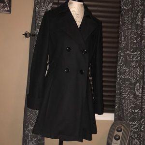 Via Spiga Black Wool Pleated Peacoat - 10